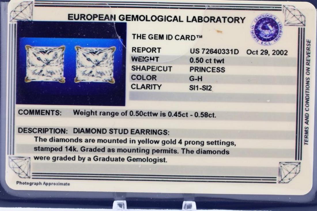 EGL 0.50ctw SI1-SI2/G-H Diamond 14K Earrings - 4