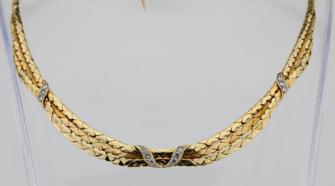 "14K & 0.60ctw SI1-SI2/G-H Diamond 14"" Necklace"