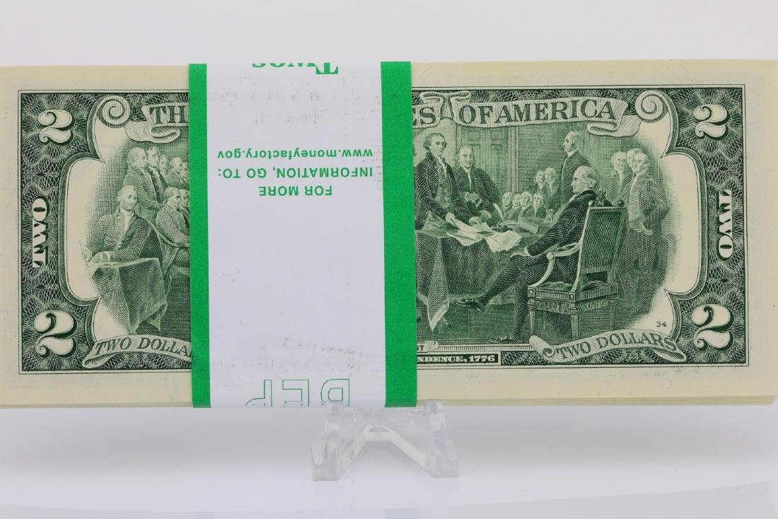(100) $2 Bills in Mint Condition in Numeric Order - 2