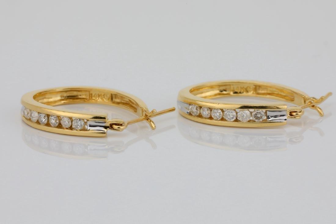 """14K & 0.60ctw SI1-SI2/G-H Diamond 1"""" Hoop Earrings - 2"""