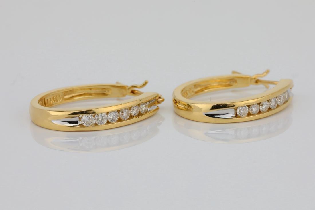 """14K & 0.60ctw SI1-SI2/G-H Diamond 1"""" Hoop Earrings - 3"""
