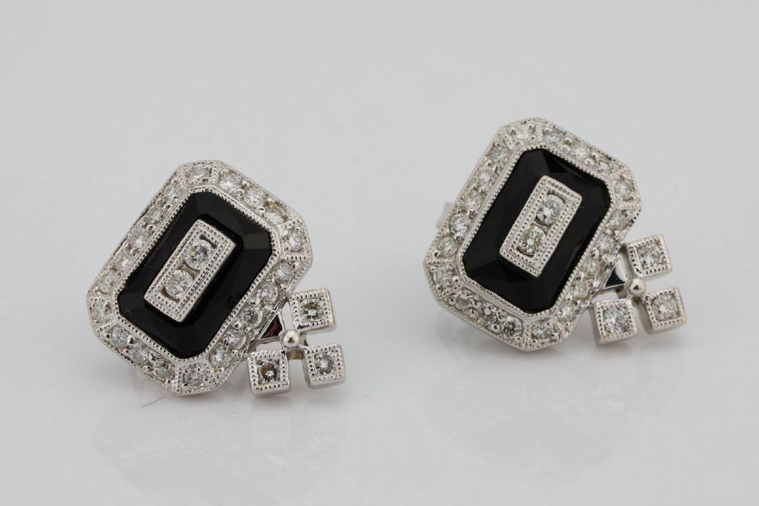 1.00ctw SI1-SI2/G-H Diamond & 14K Earrings W/Onyx