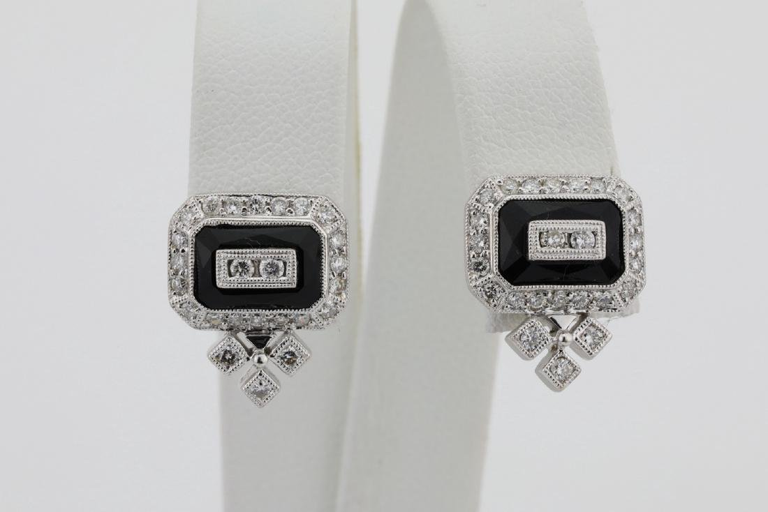 1.00ctw SI1-SI2/G-H Diamond & 14K Earrings W/Onyx - 2