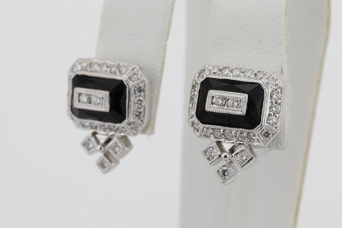1.00ctw SI1-SI2/G-H Diamond & 14K Earrings W/Onyx - 3