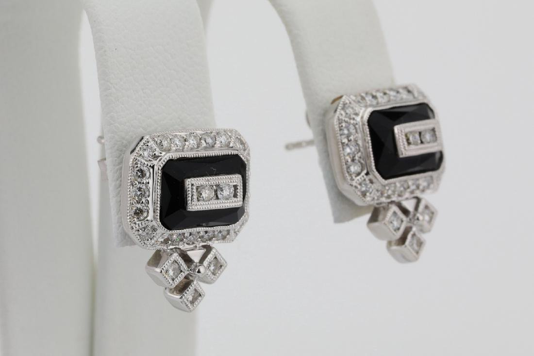 1.00ctw SI1-SI2/G-H Diamond & 14K Earrings W/Onyx - 4