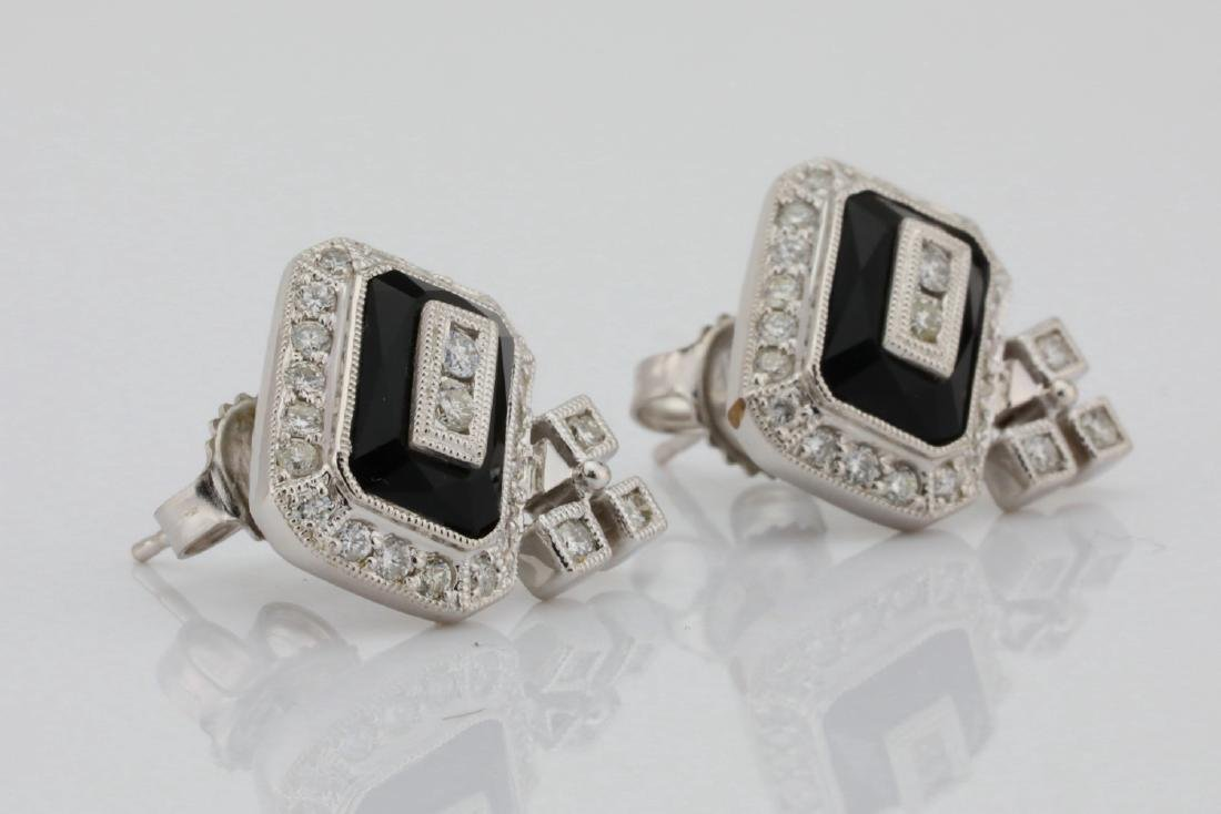 1.00ctw SI1-SI2/G-H Diamond & 14K Earrings W/Onyx - 5