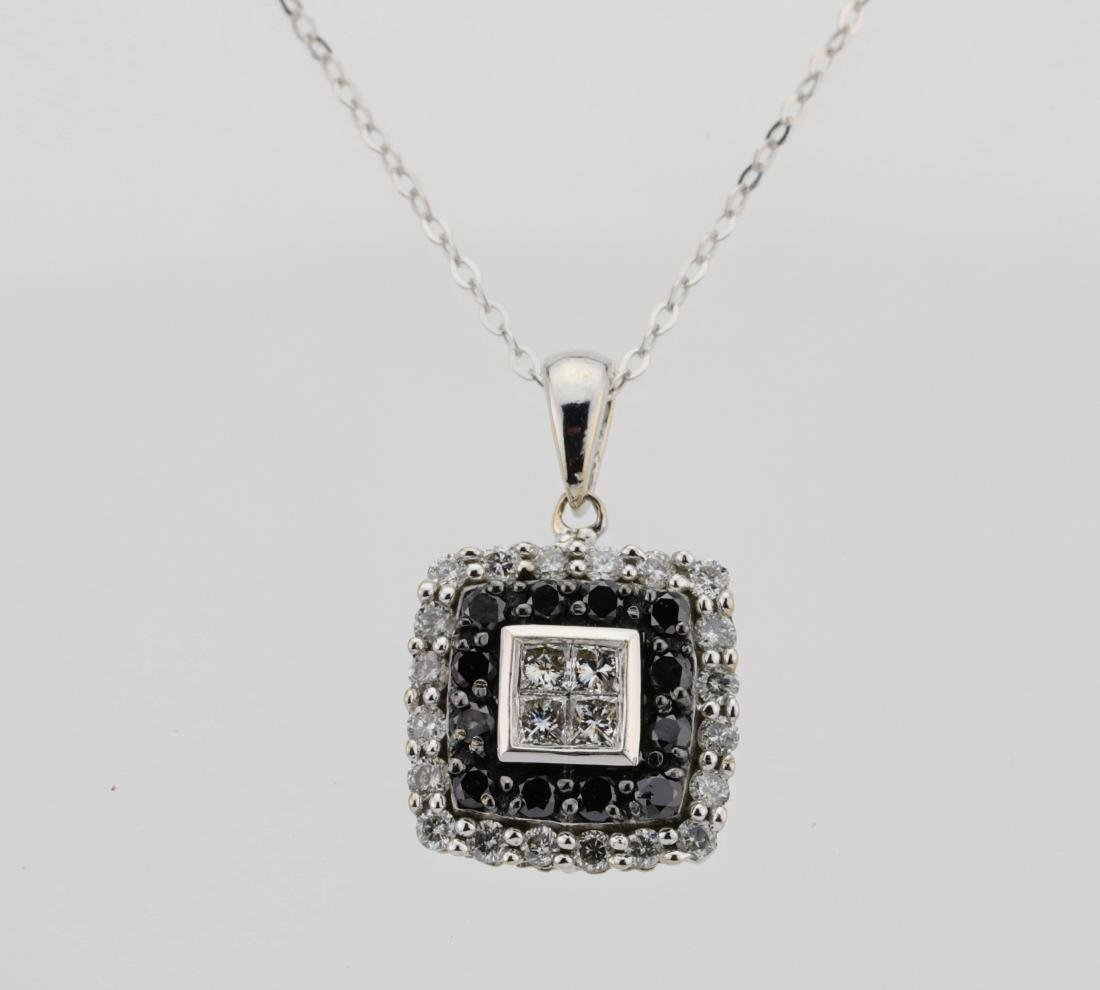 10K .85ctw Black/White Diamond Pendant W/14K Chain
