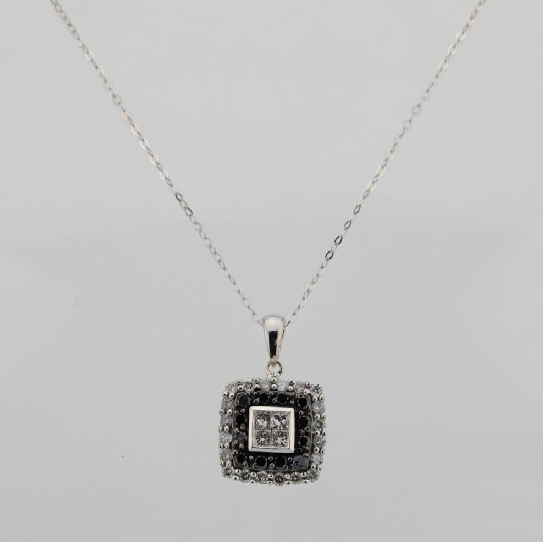 10K .85ctw Black/White Diamond Pendant W/14K Chain - 2