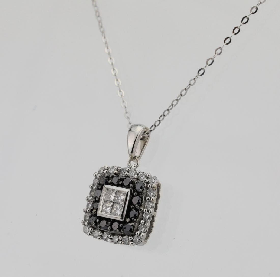 10K .85ctw Black/White Diamond Pendant W/14K Chain - 3