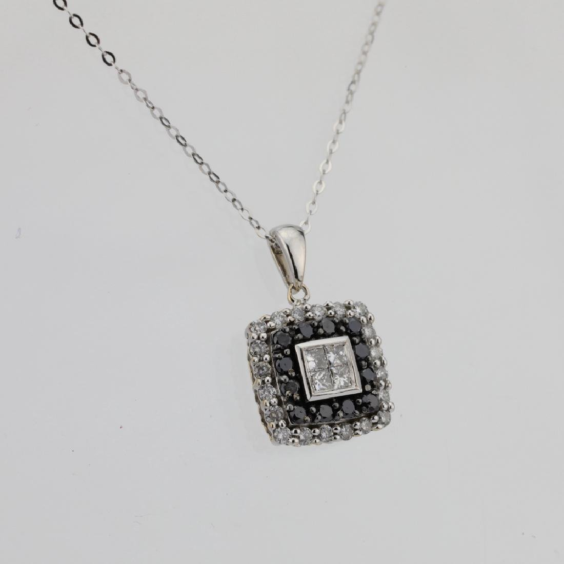 10K .85ctw Black/White Diamond Pendant W/14K Chain - 4