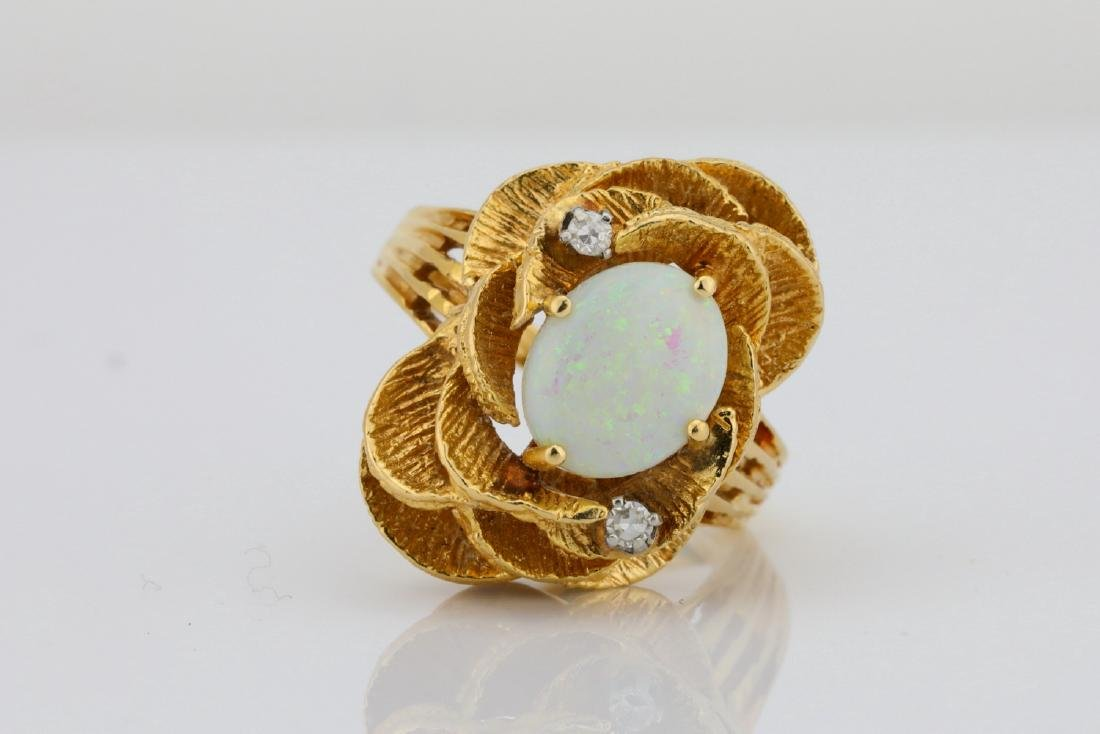 10.5mm Opal & 14K Ring W/Diamond Accents