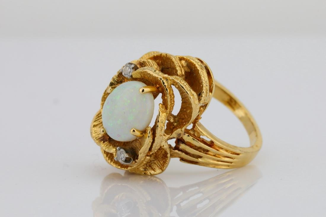 10.5mm Opal & 14K Ring W/Diamond Accents - 2