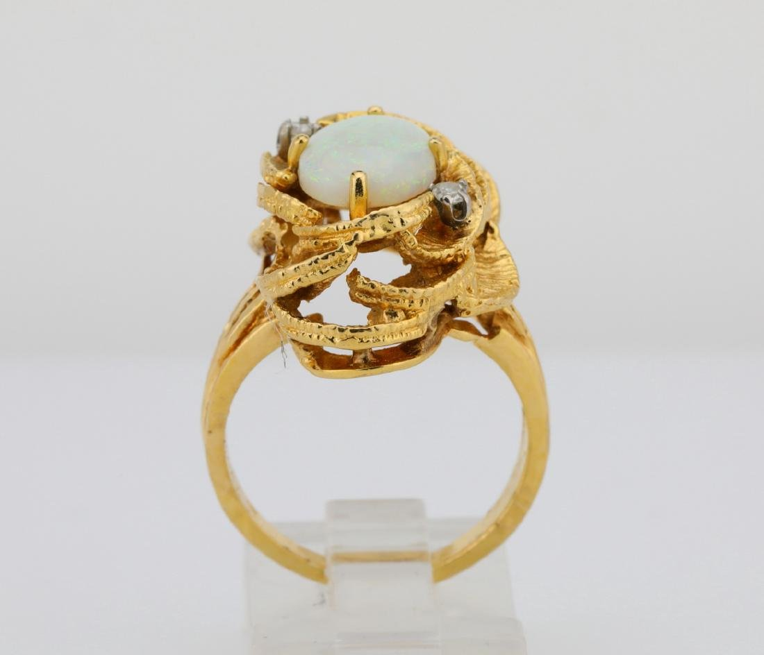 10.5mm Opal & 14K Ring W/Diamond Accents - 5