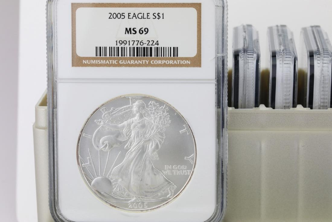 1986-2005 Silver Eagle (20) Coin Set Graded MS69 - 2