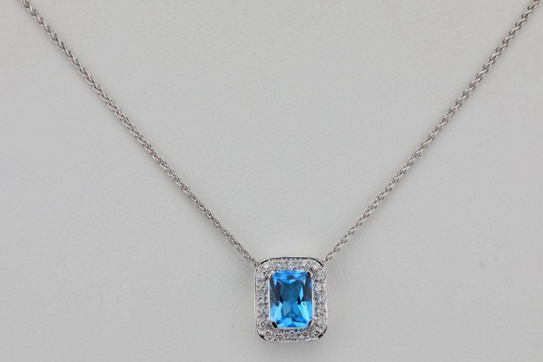 "1.50ct Blue Topaz & 14K 17"" Necklace W/Diamonds"