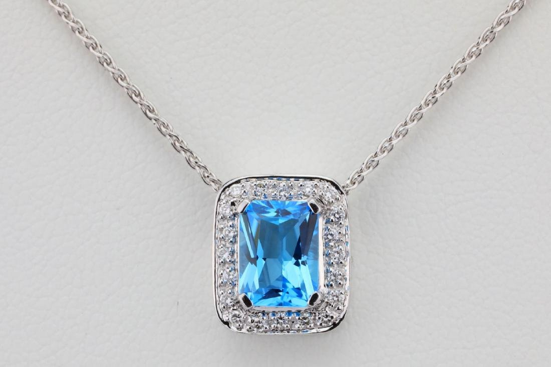 "1.50ct Blue Topaz & 14K 17"" Necklace W/Diamonds - 2"