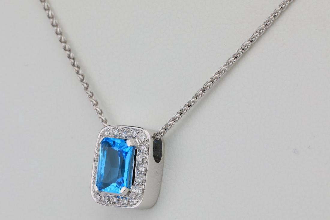 "1.50ct Blue Topaz & 14K 17"" Necklace W/Diamonds - 3"
