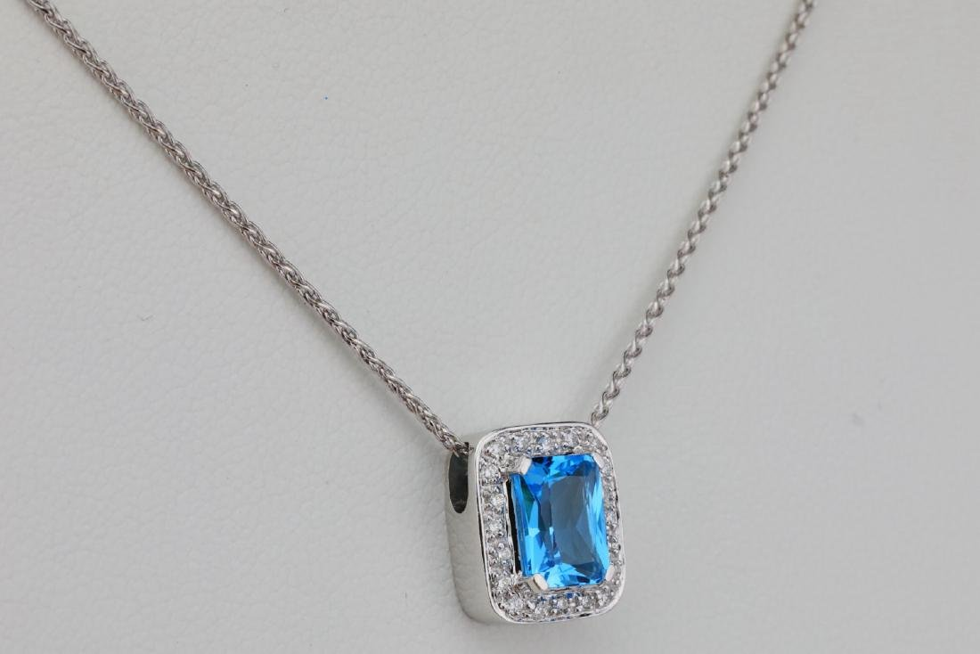 "1.50ct Blue Topaz & 14K 17"" Necklace W/Diamonds - 4"