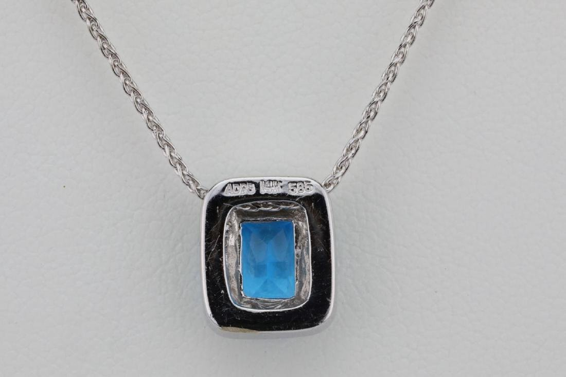 "1.50ct Blue Topaz & 14K 17"" Necklace W/Diamonds - 5"