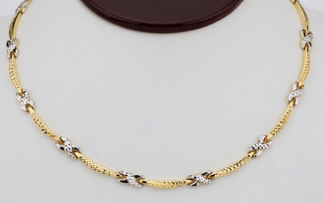 "14K 17"" Turkish Necklace W/Diamond Cut Details"