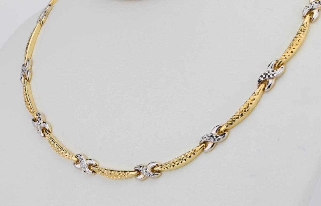 "14K 17"" Turkish Necklace W/Diamond Cut Details - 3"