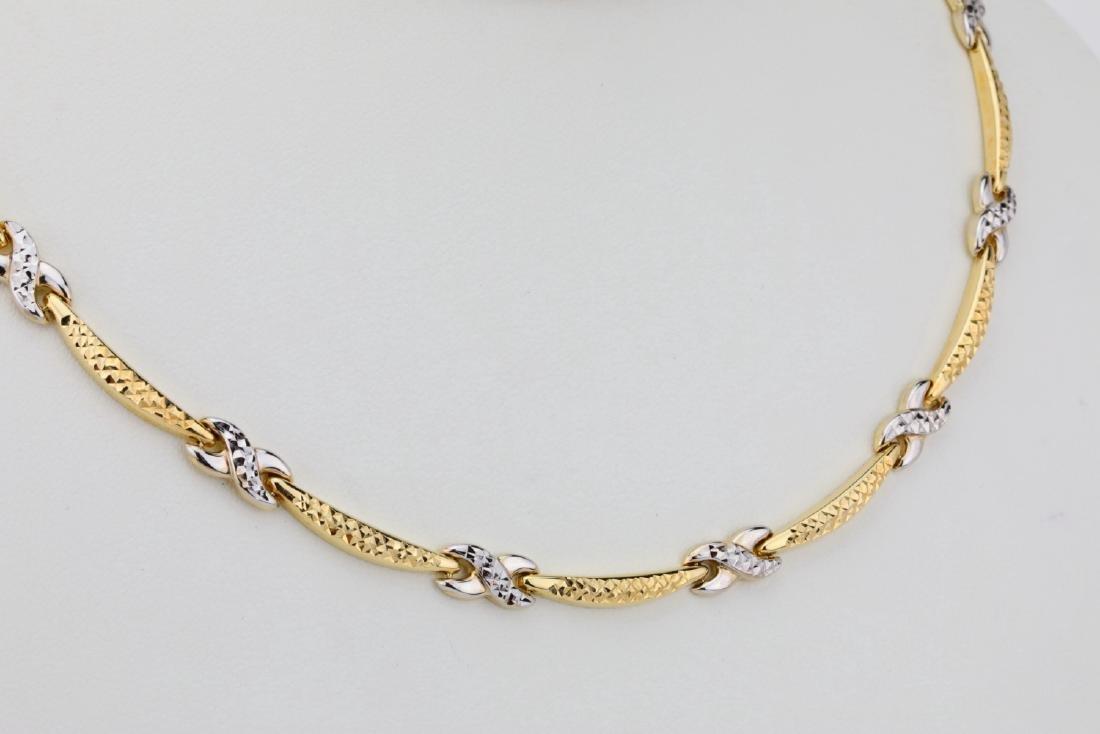 "14K 17"" Turkish Necklace W/Diamond Cut Details - 4"