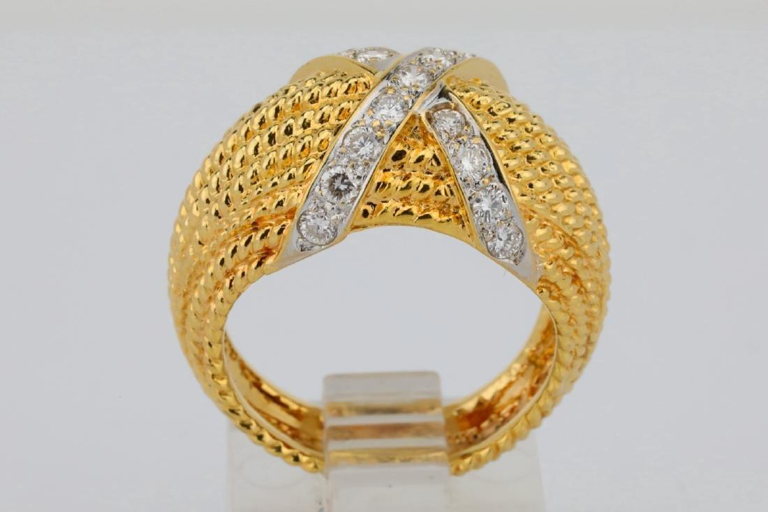 "18K & 0.50ctw SI1-SI2/G-H Diamond ""X"" Motif Ring - 5"