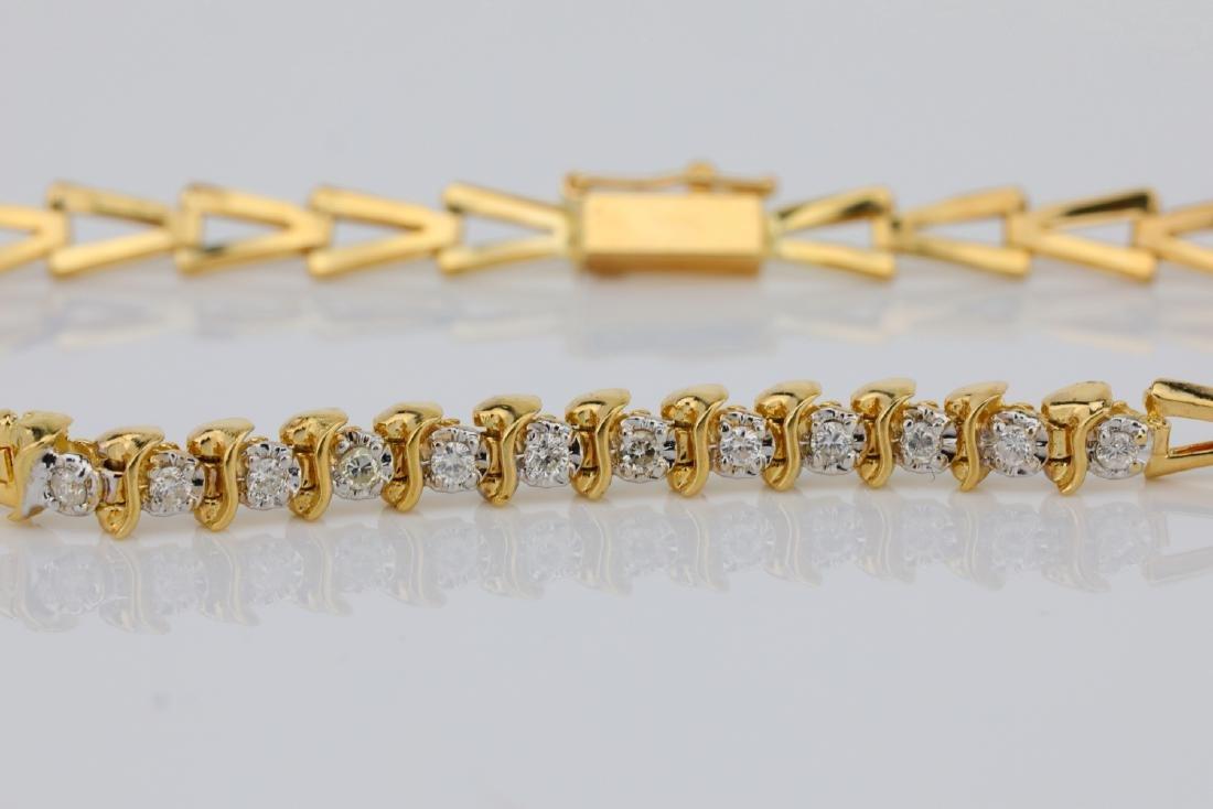 "14K & 0.25ctw SI1-SI2/G-H Diamond 7"" Bracelet - 2"