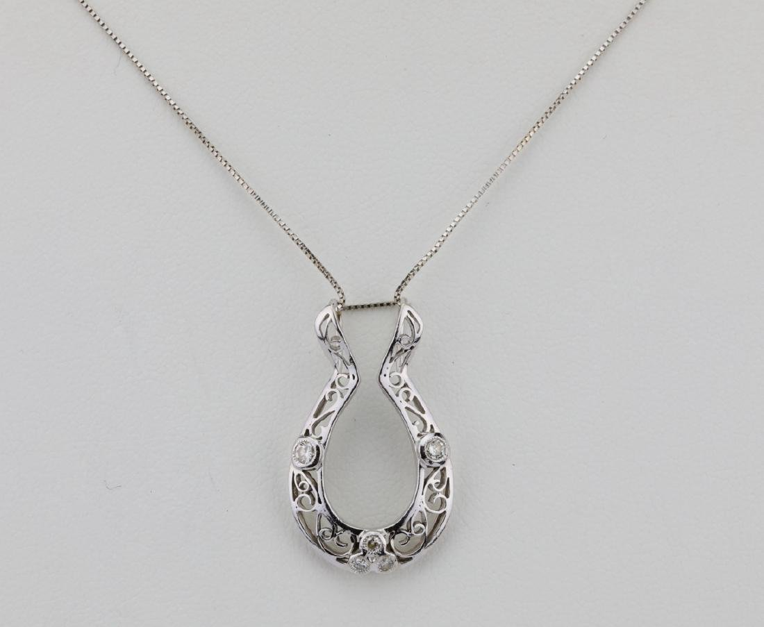 "14K & Diamond 1.25"" Filigree Pendant W/17"" Chain"