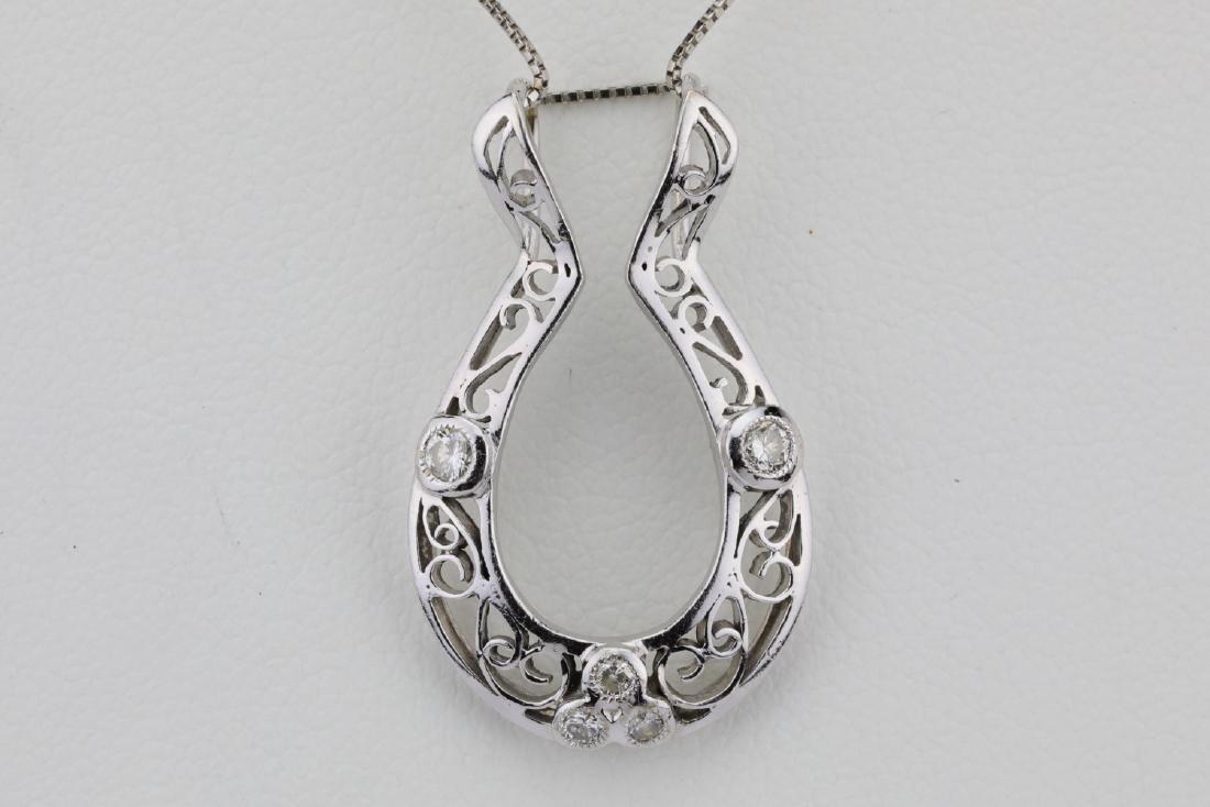 "14K & Diamond 1.25"" Filigree Pendant W/17"" Chain - 2"
