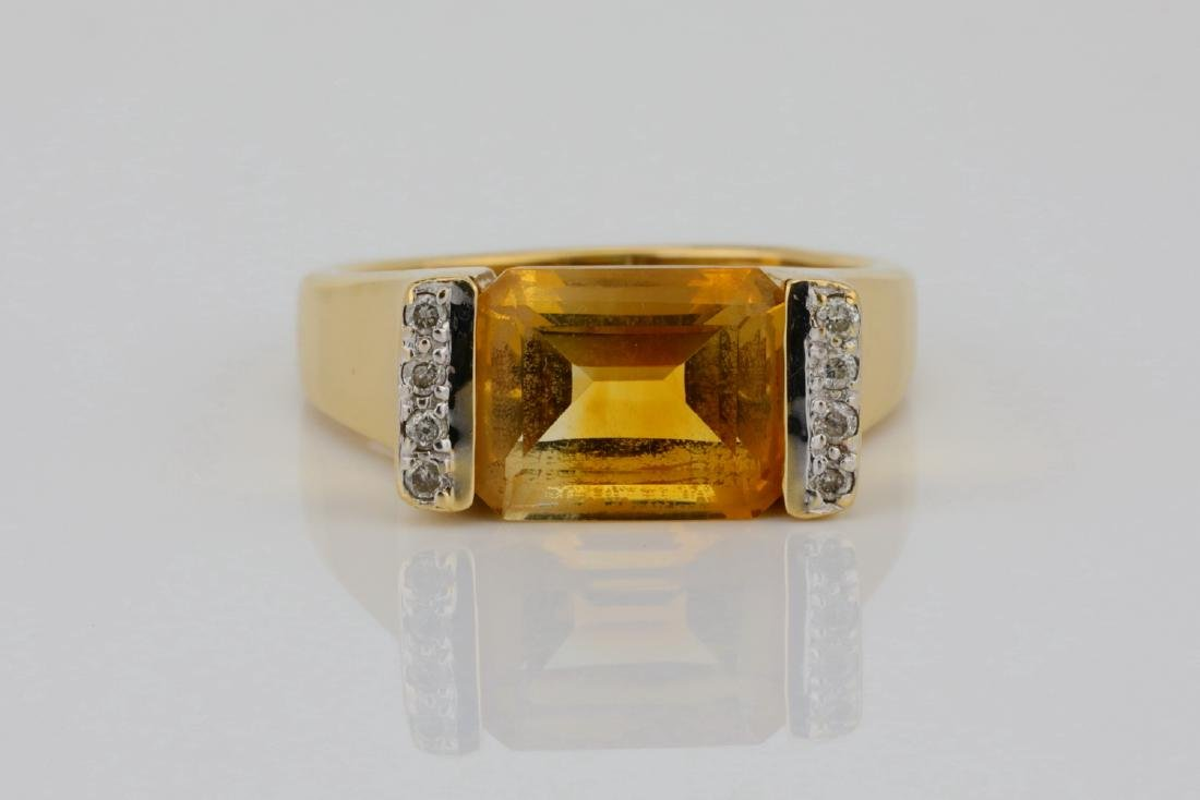 3.50ct Citrine & 14K Ring W/Diamond Accents