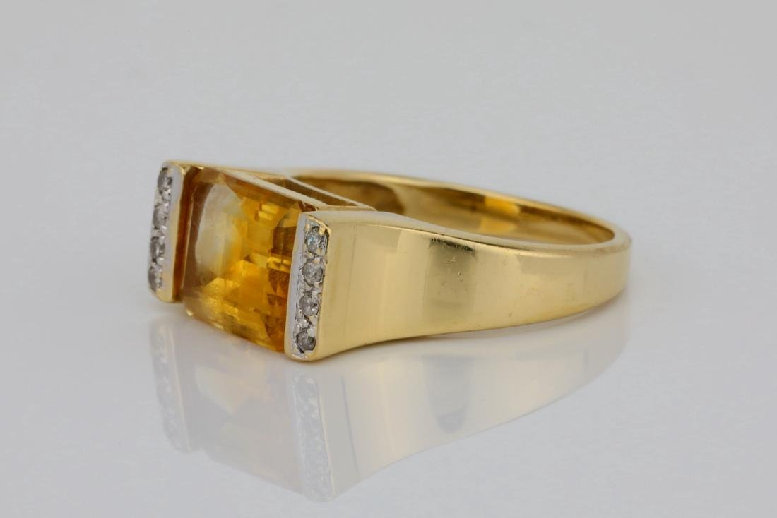 3.50ct Citrine & 14K Ring W/Diamond Accents - 2