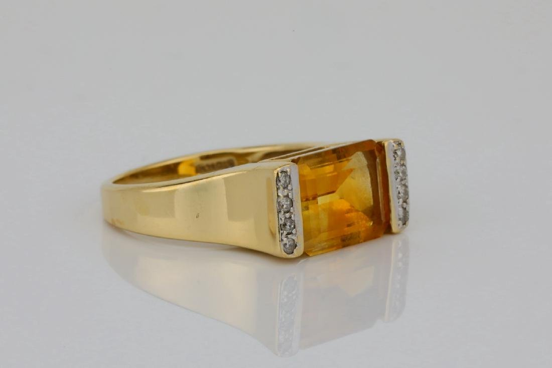 3.50ct Citrine & 14K Ring W/Diamond Accents - 3