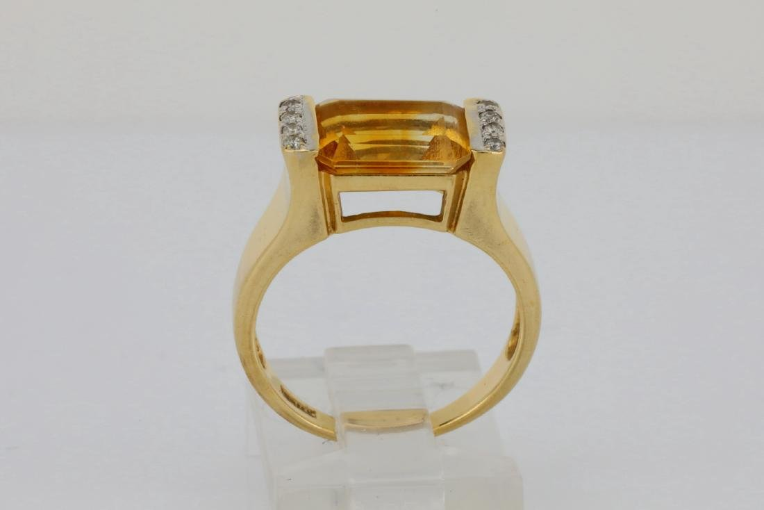 3.50ct Citrine & 14K Ring W/Diamond Accents - 5