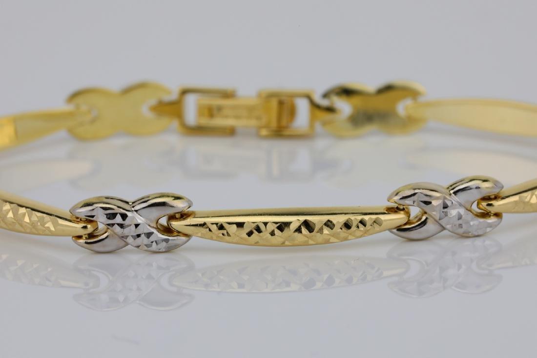 "14K 7"" Turkish Bracelet W/Diamond Cut Details - 2"