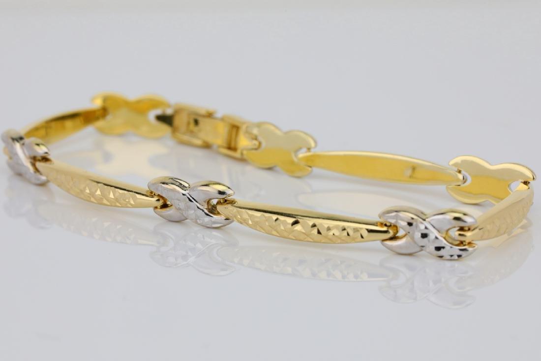 "14K 7"" Turkish Bracelet W/Diamond Cut Details - 3"