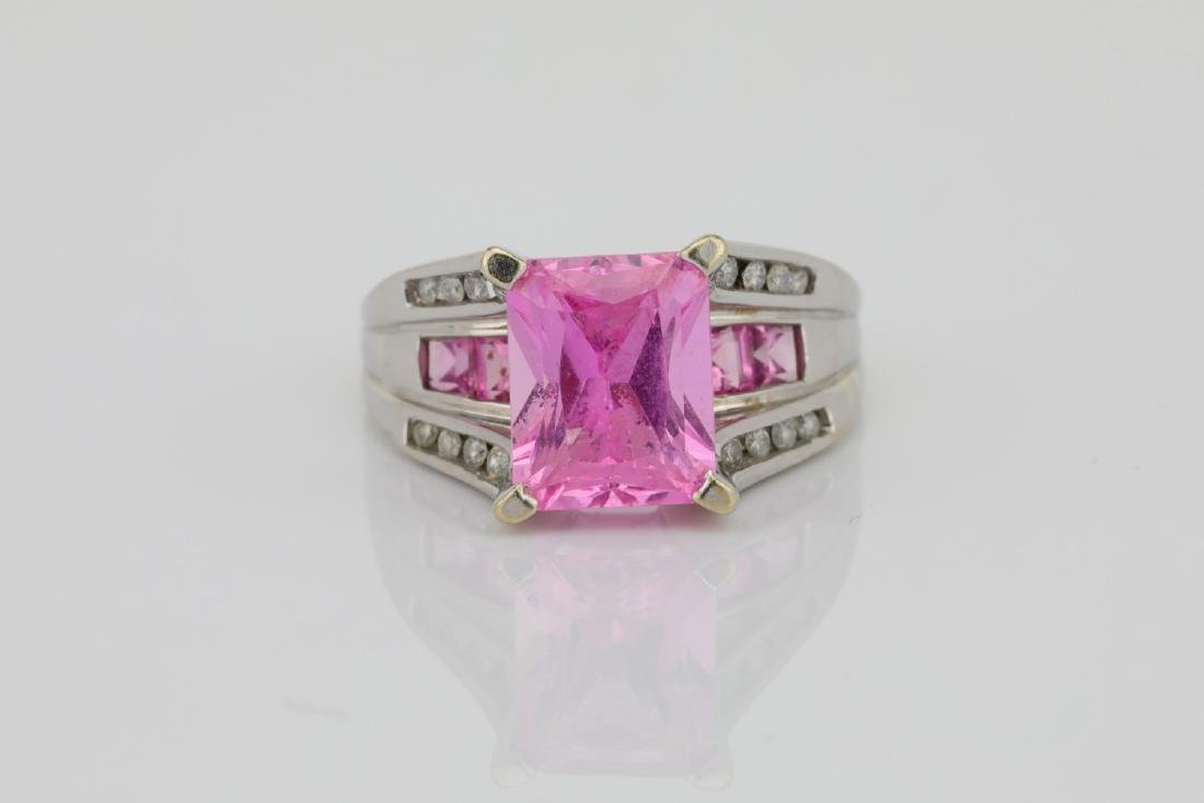 4.20ctw Pink Topaz & 10K Ring W/Diamond Accents