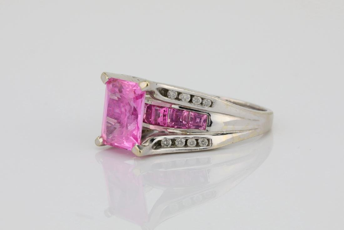 4.20ctw Pink Topaz & 10K Ring W/Diamond Accents - 2