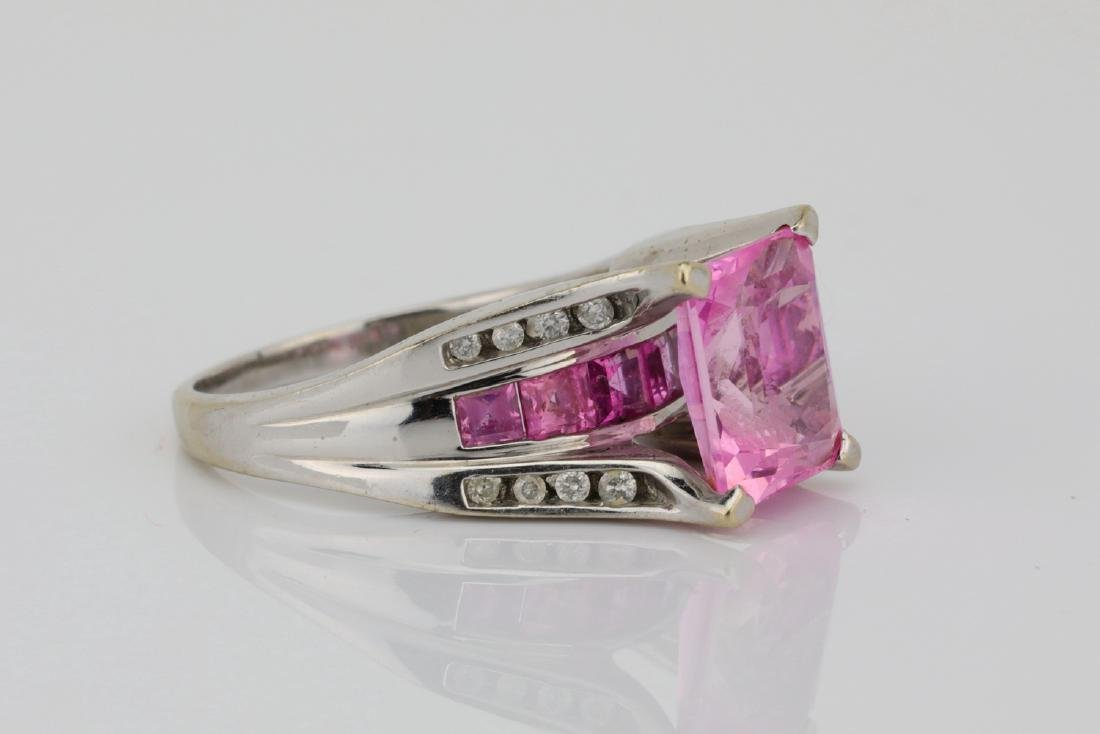 4.20ctw Pink Topaz & 10K Ring W/Diamond Accents - 3