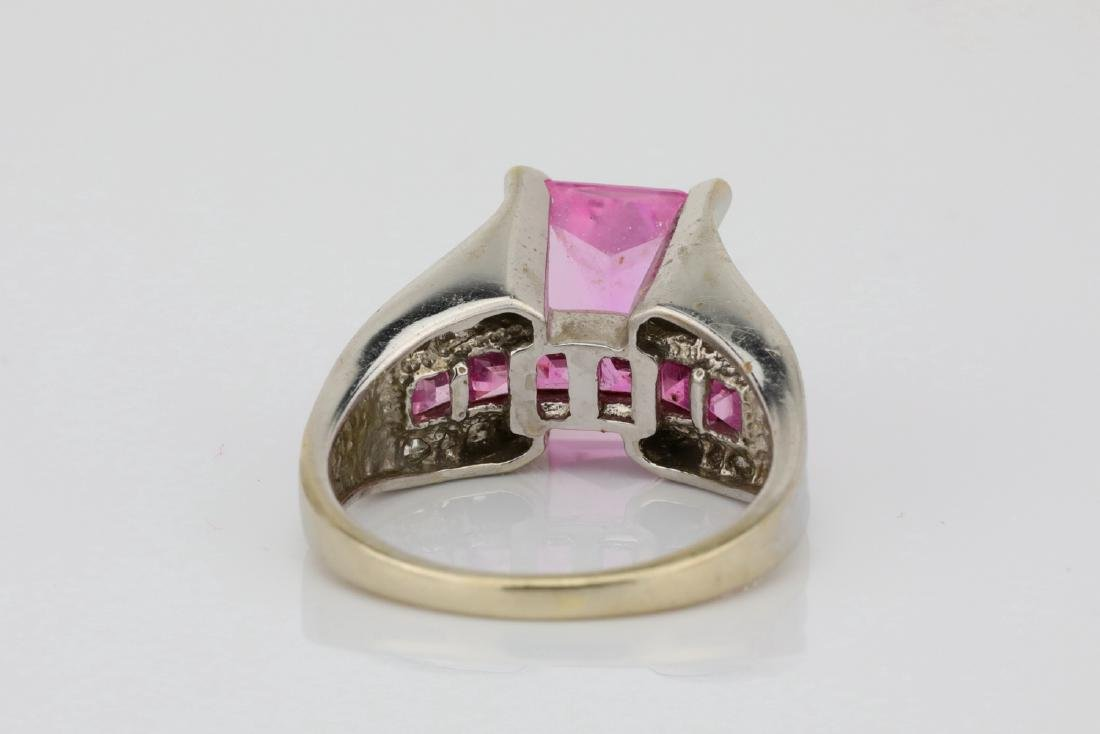 4.20ctw Pink Topaz & 10K Ring W/Diamond Accents - 4