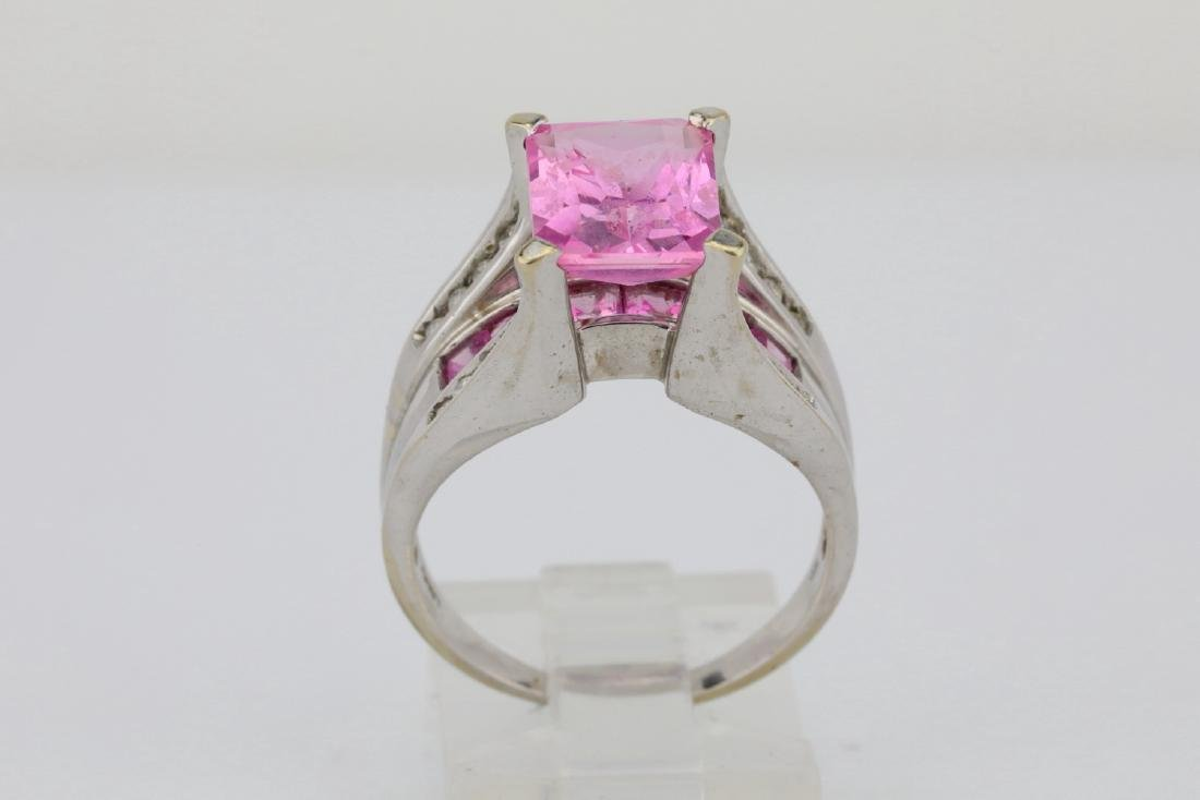 4.20ctw Pink Topaz & 10K Ring W/Diamond Accents - 5