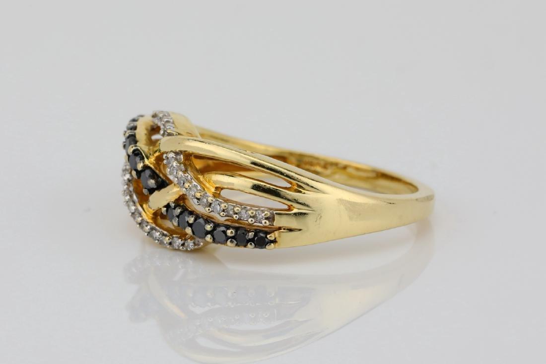 10K & 0.40ctw Black/White Diamond 8.5mm Wide Ring - 2