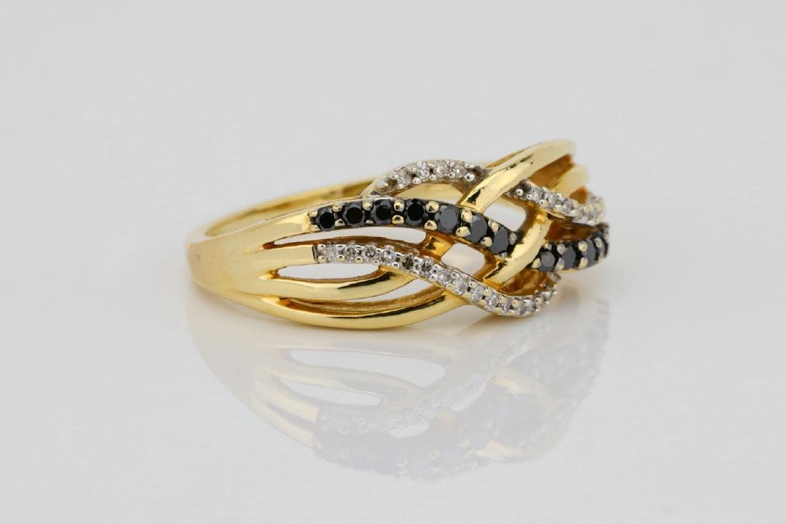 10K & 0.40ctw Black/White Diamond 8.5mm Wide Ring - 3