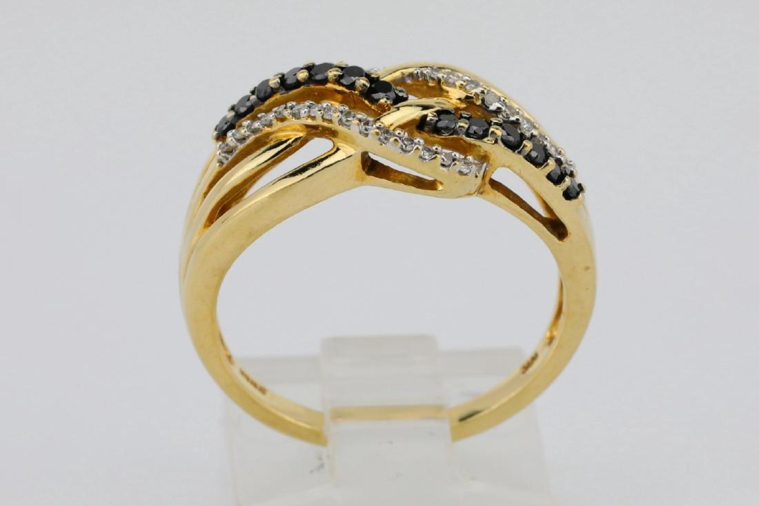 10K & 0.40ctw Black/White Diamond 8.5mm Wide Ring - 4