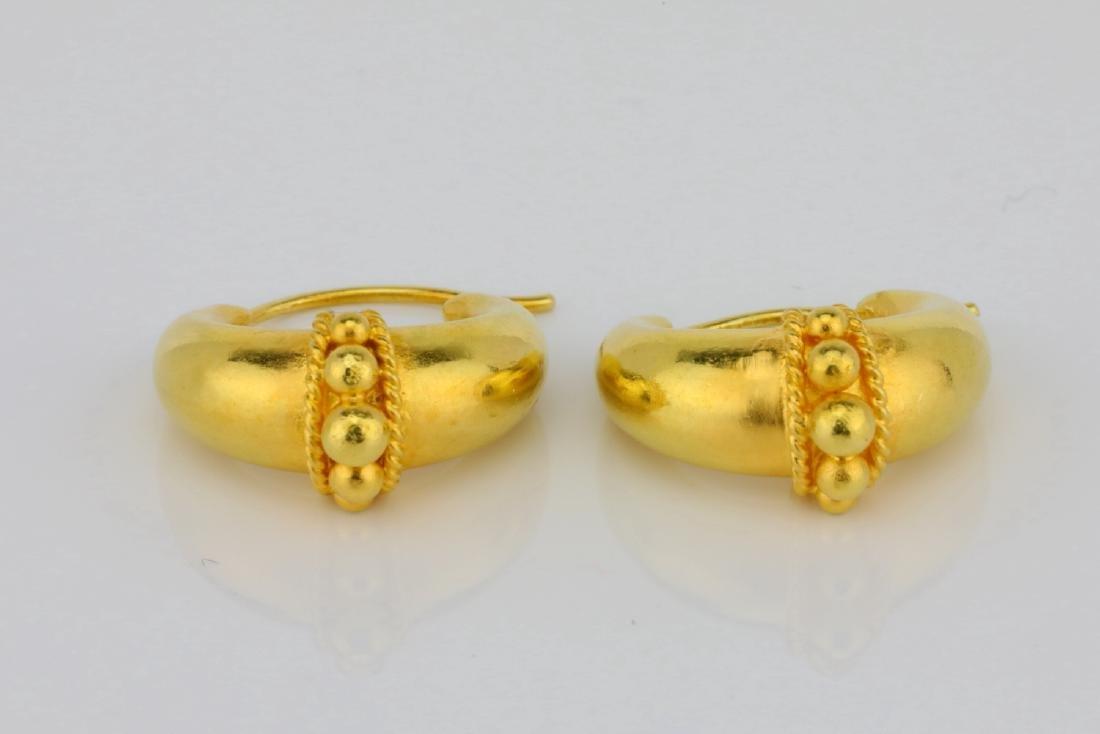 """Solid 18K Yellow Gold 0.75"""" Huggie Hoop Earrings"""
