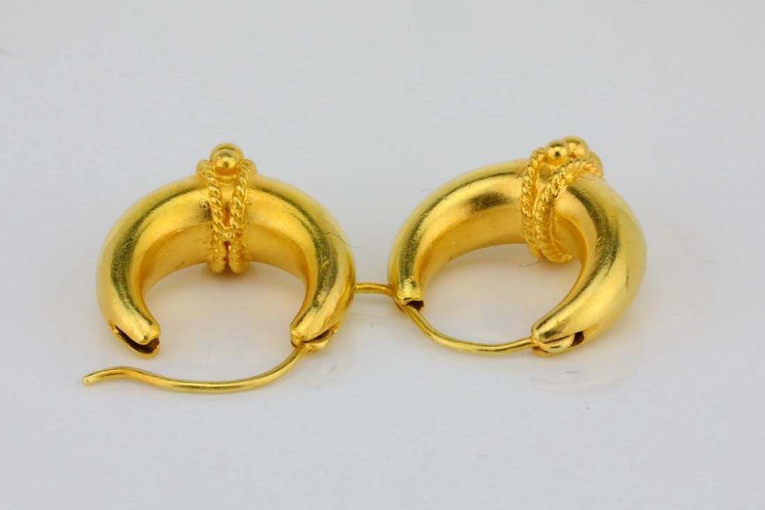 "Solid 18K Yellow Gold 0.75"" Huggie Hoop Earrings - 4"