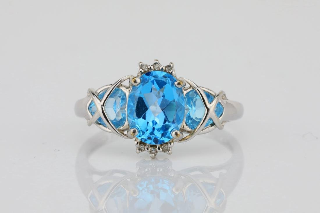 3.00ctw Blue Topaz & 10K White Gold 3-Stone Ring
