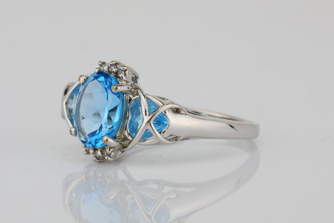 3.00ctw Blue Topaz & 10K White Gold 3-Stone Ring - 2