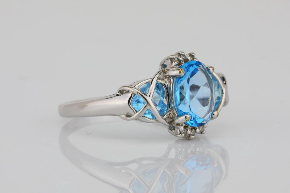 3.00ctw Blue Topaz & 10K White Gold 3-Stone Ring - 3