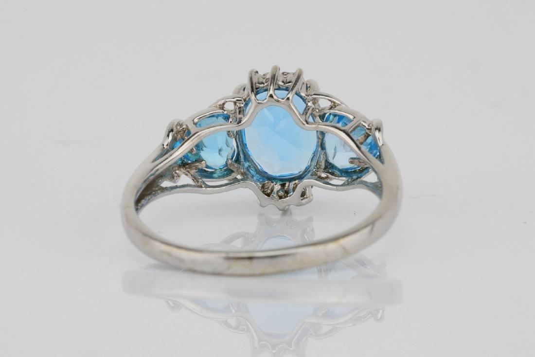 3.00ctw Blue Topaz & 10K White Gold 3-Stone Ring - 4